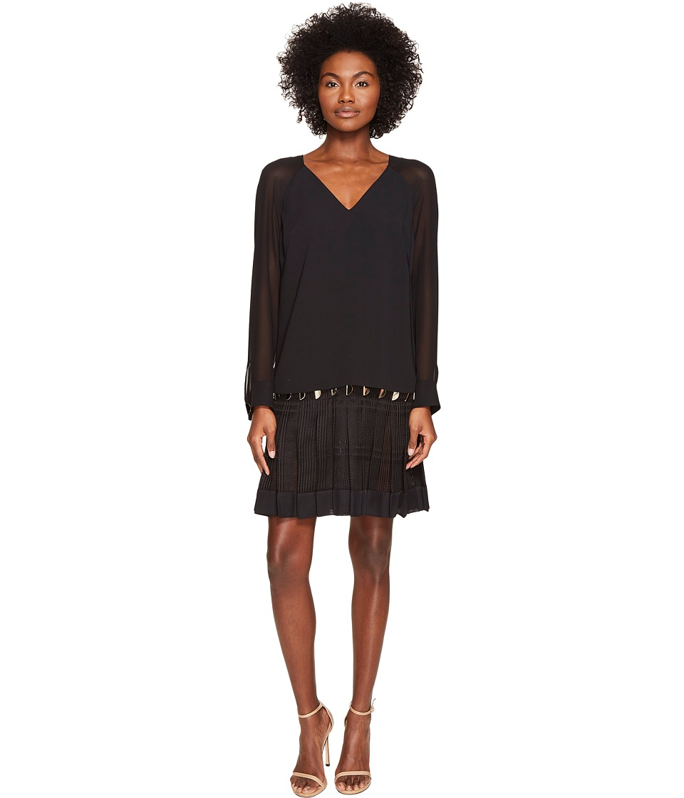 Versace Collection - Long Sleeve Sheer V-Neck Dress (Nero) Women's Dress