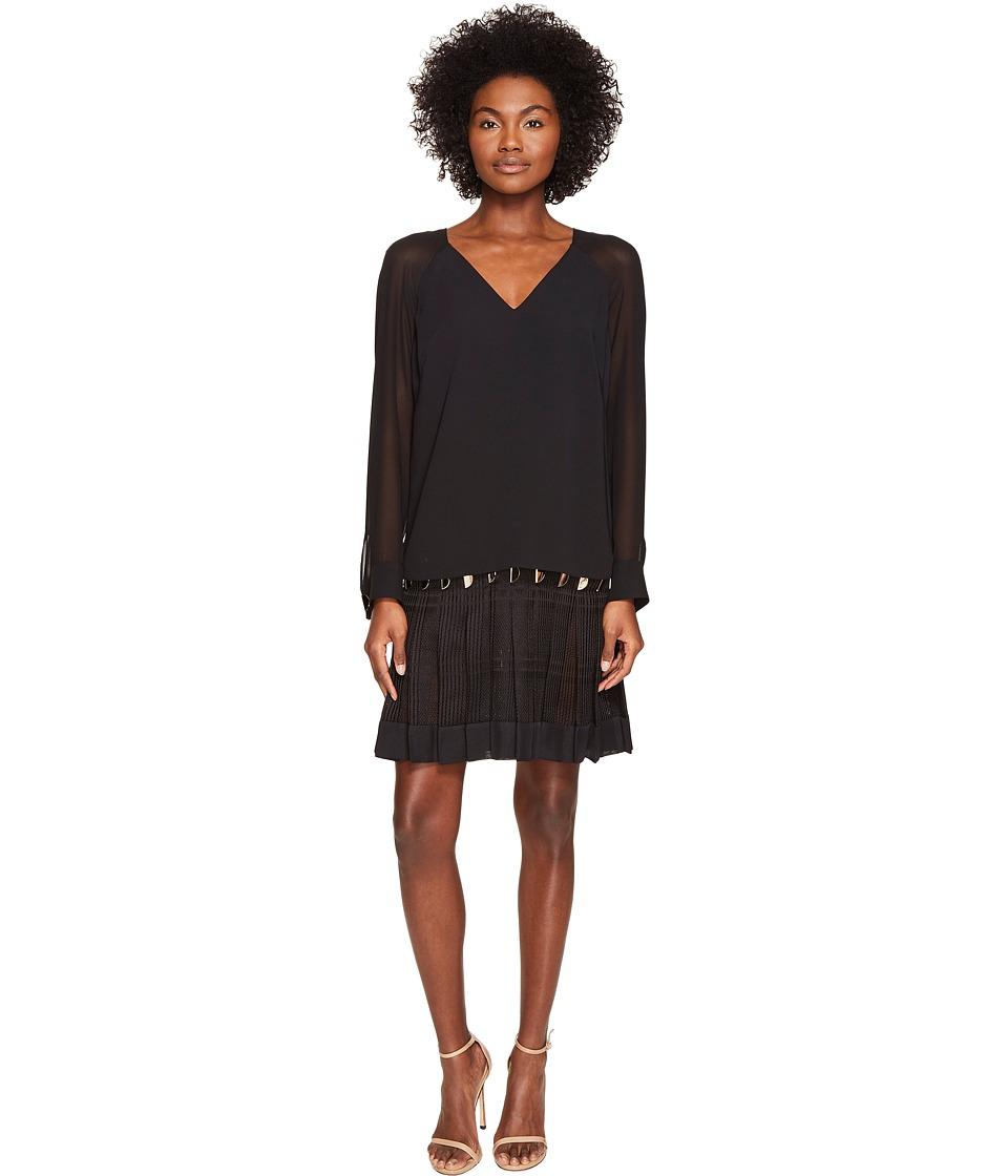 Versace Collection Long Sleeve Sheer V-Neck Dress (Nero) Women