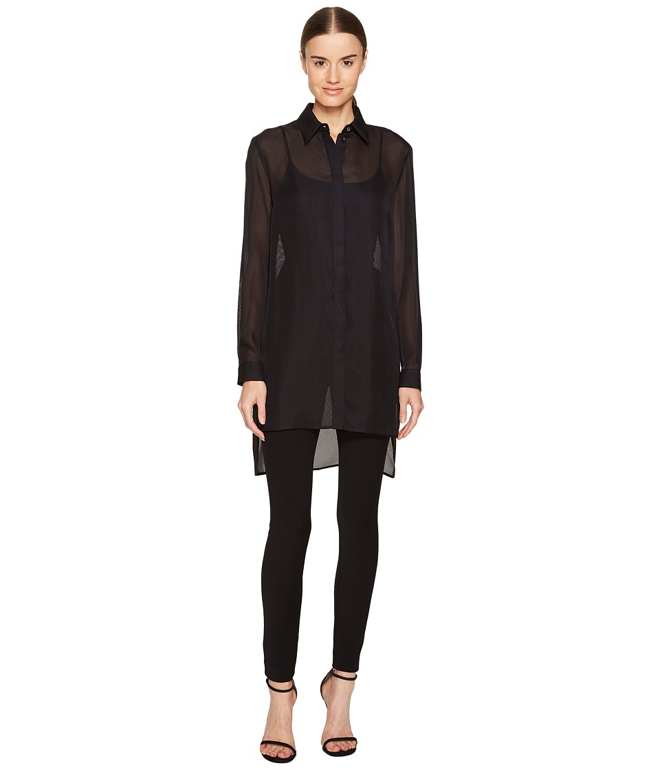 Versace Collection - Sheer Collared Long Sleeve Blouse (Nero) Women's Blouse