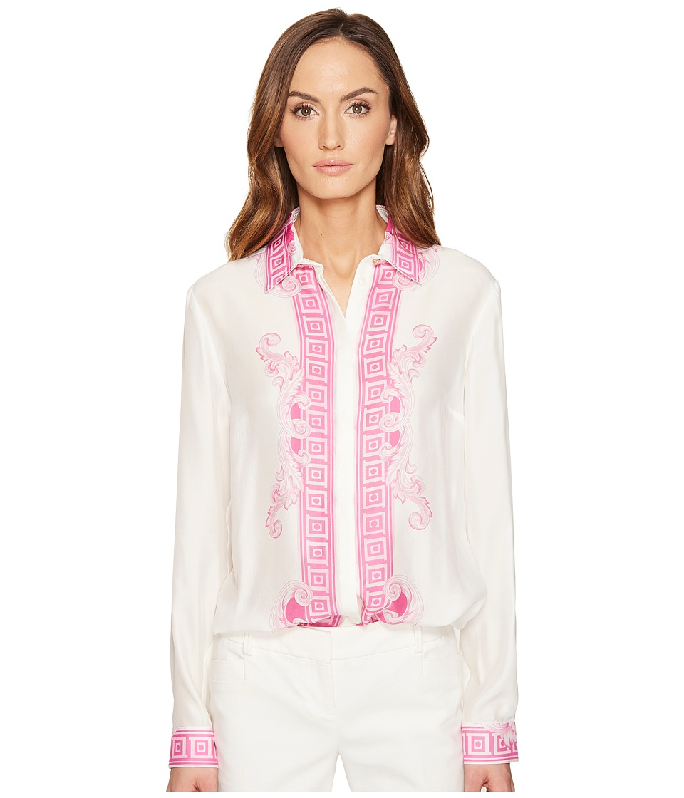 Versace Collection - Button Up Long Sleeve Printed Trim Blouse (Bianco/Stampa) Women's Blouse
