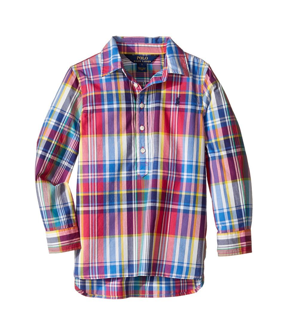 Polo Ralph Lauren Kids - Yarn-Dyed Poplin-Popover Top (Little Kids) (Pink Multi) Girl's Clothing