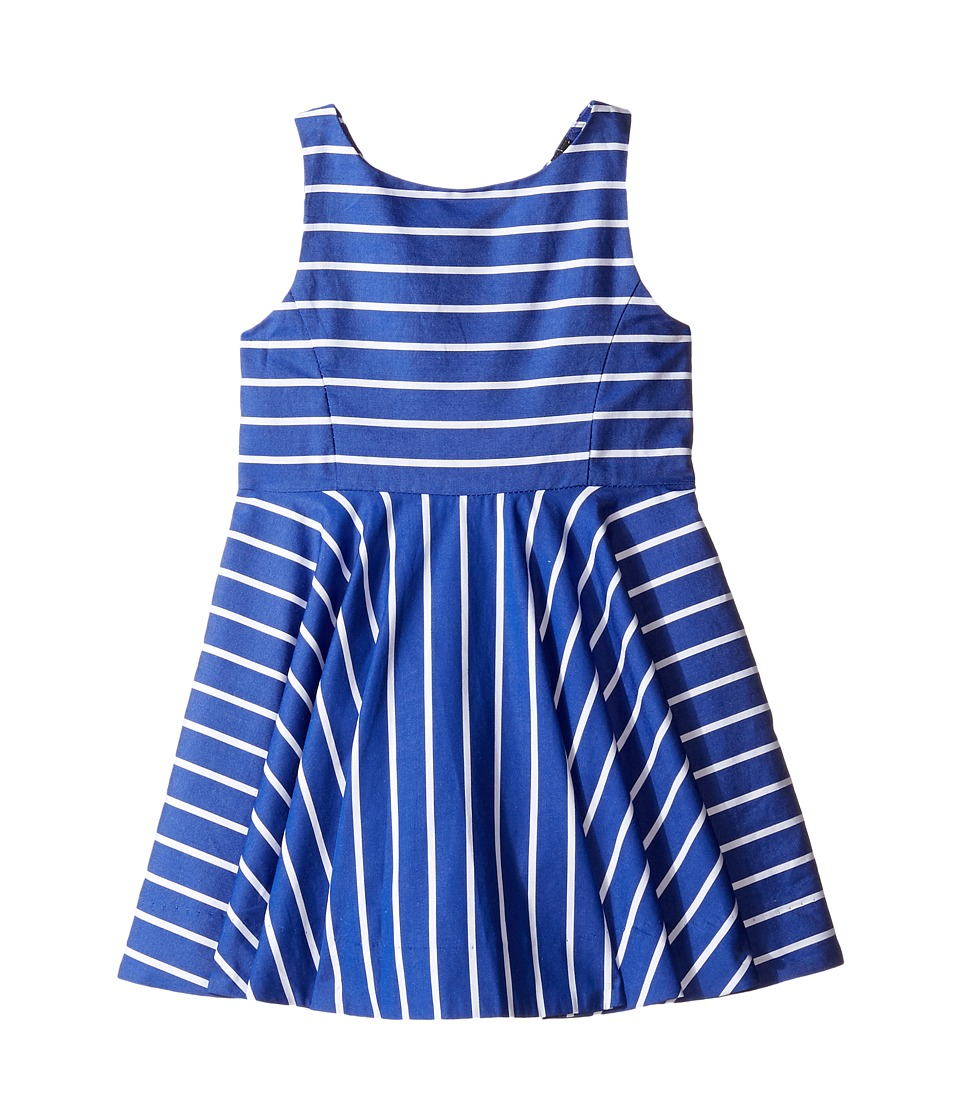 Polo Ralph Lauren Kids - Yarn-Dyed Cotton Sateen Stripe Dress (Toddler) (Blue/White) Girl's Dress
