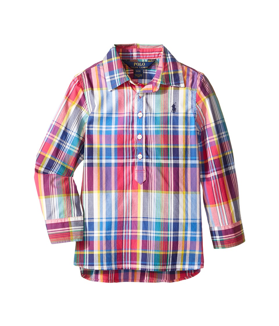 Polo Ralph Lauren Kids - Yarn-Dyed Poplin Popover Top (Toddler) (Pink Multi) Girl's Clothing