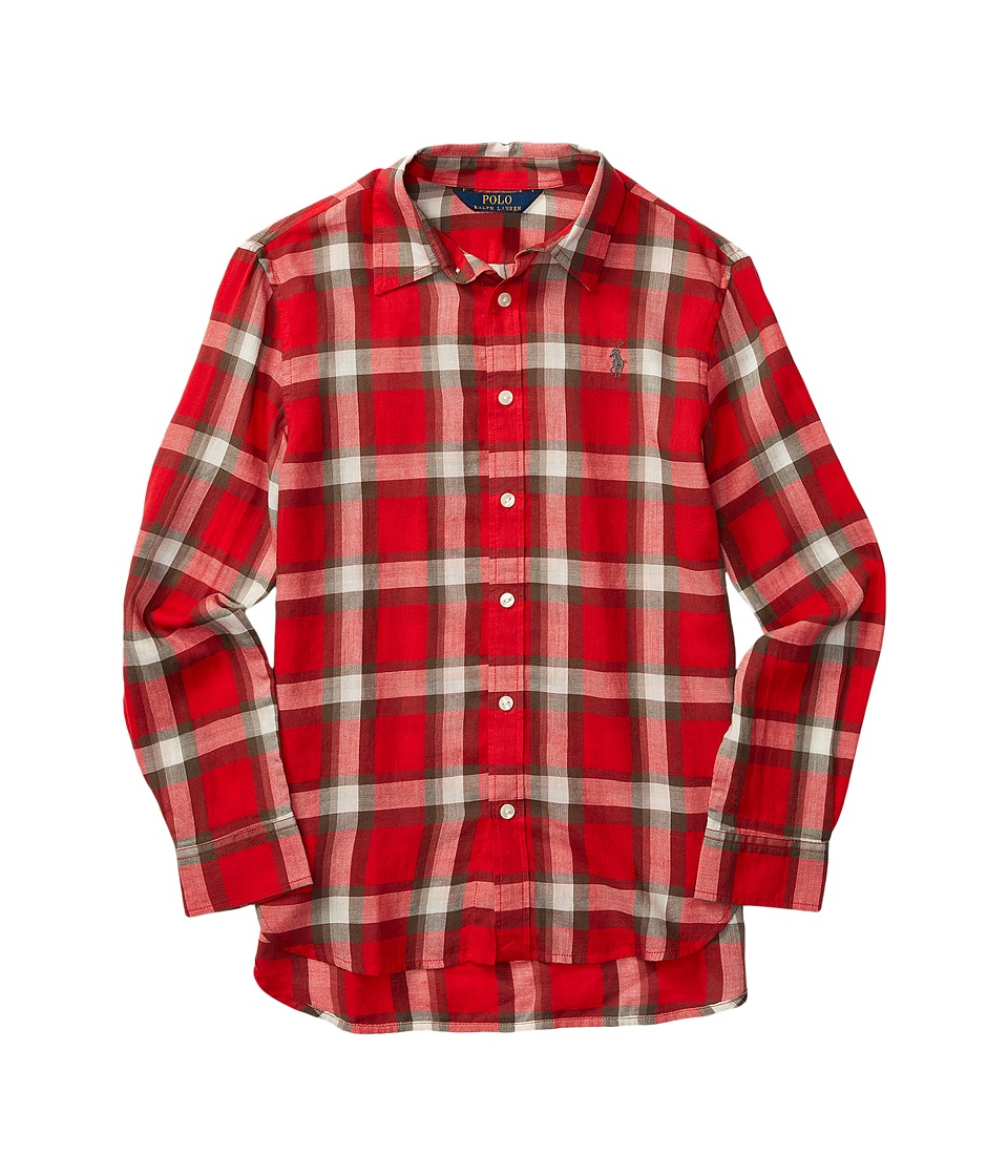 Polo Ralph Lauren Kids - Feather Weight Twill Plaid Shirt (Big Kids) (Holiday Red/Dark Grey Multi) Girl's Clothing