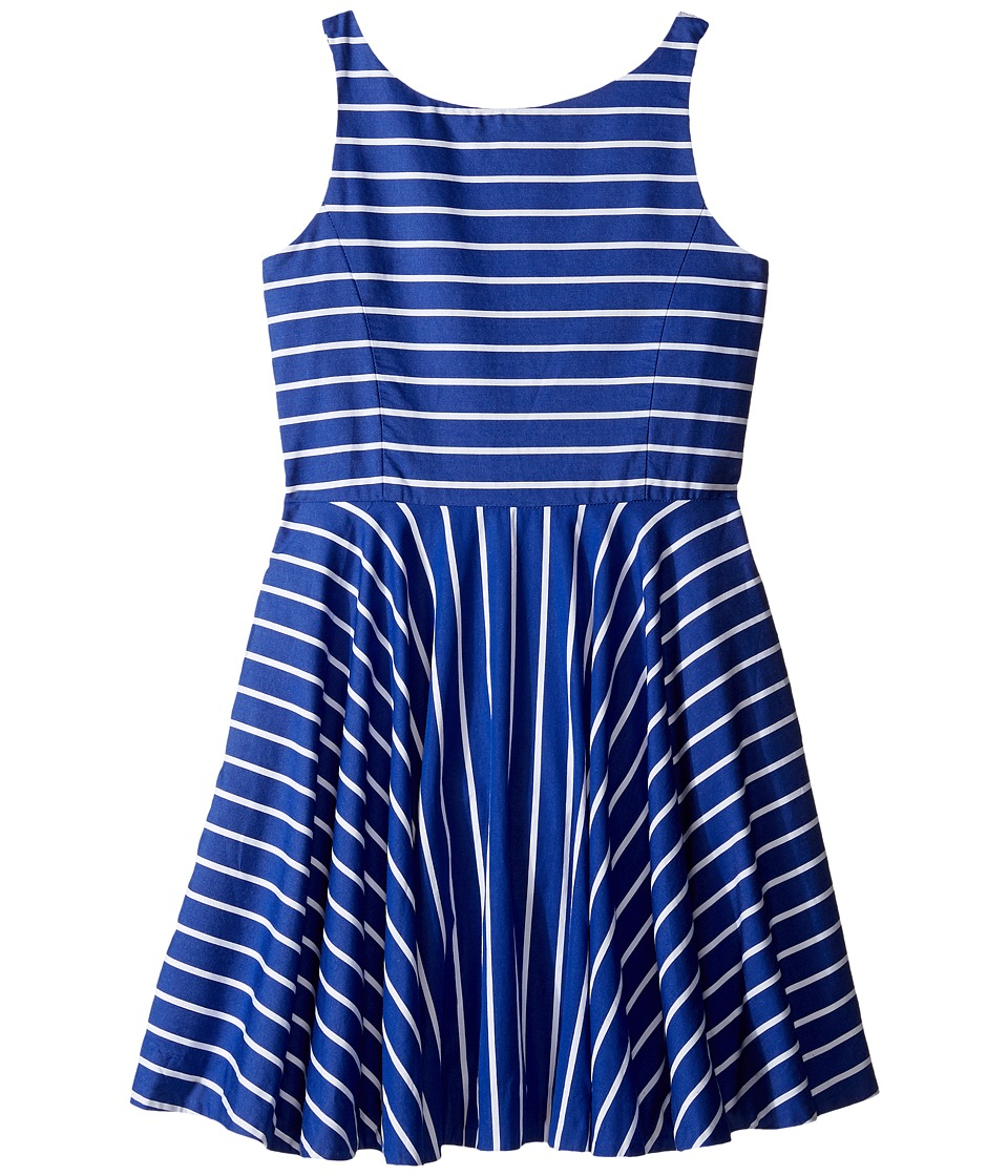 Polo Ralph Lauren Kids - Yarn-Dyed Cotton Sateen Stripe Dress (Big Kids) (Blue/White) Girl's Dress