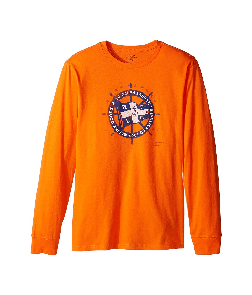 Polo Ralph Lauren Kids - Long Sleeve Basic Jersey (Big Kids) (Bright Signal Orange Multi) Boy's T Shirt