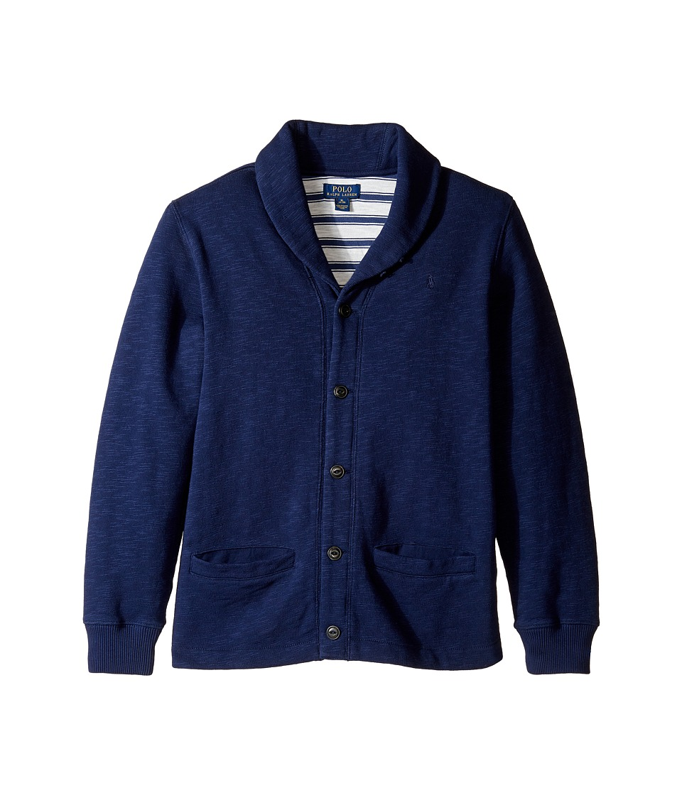 Polo Ralph Lauren Kids - Slub Fleece Shawl Collar Top (Big Kids) (True Navy) Boy's Long Sleeve Pullover