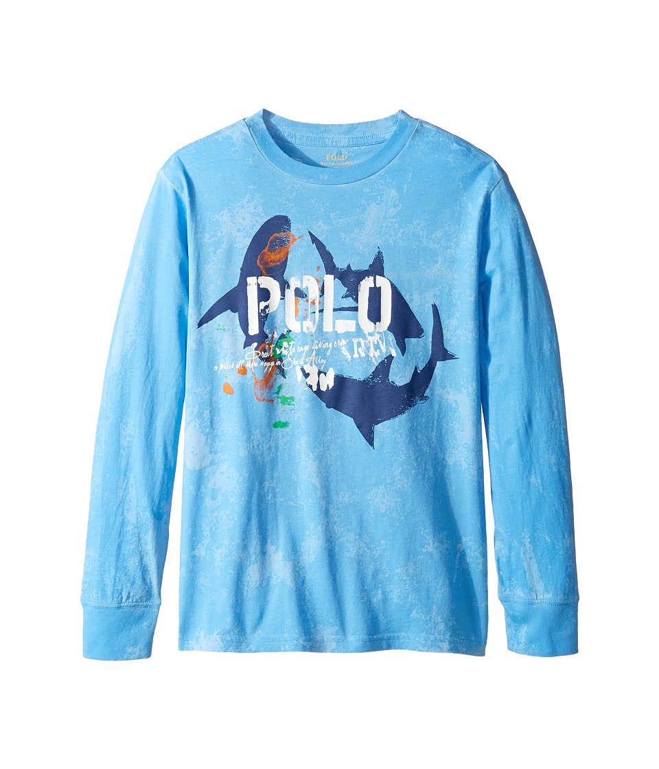 Polo Ralph Lauren Kids - Long Sleeve Basic Jersey Tee (Big Kids) (Riviera Blue) Boy's T Shirt