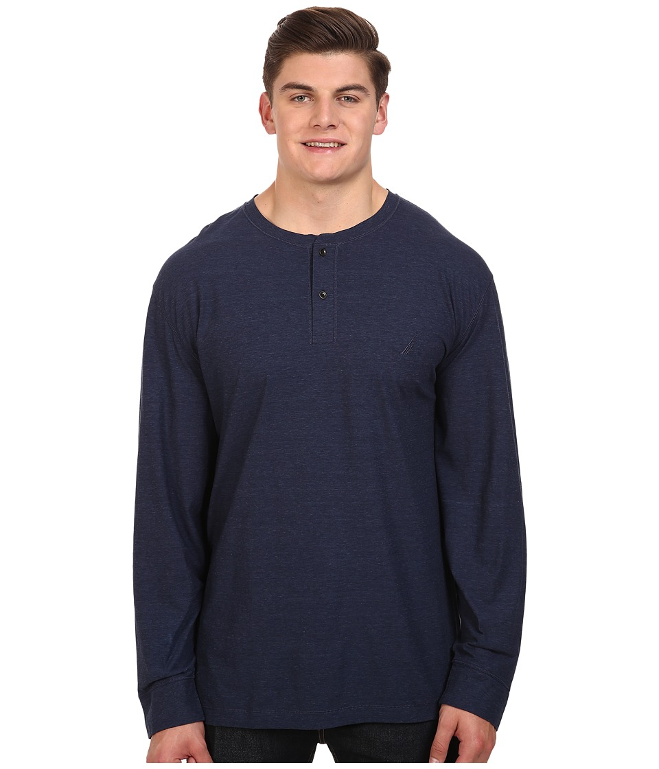 Nautica Big & Tall - Big Tall Long Sleeve Military Knit Shirt (Mood Indigo) Men's Clothing