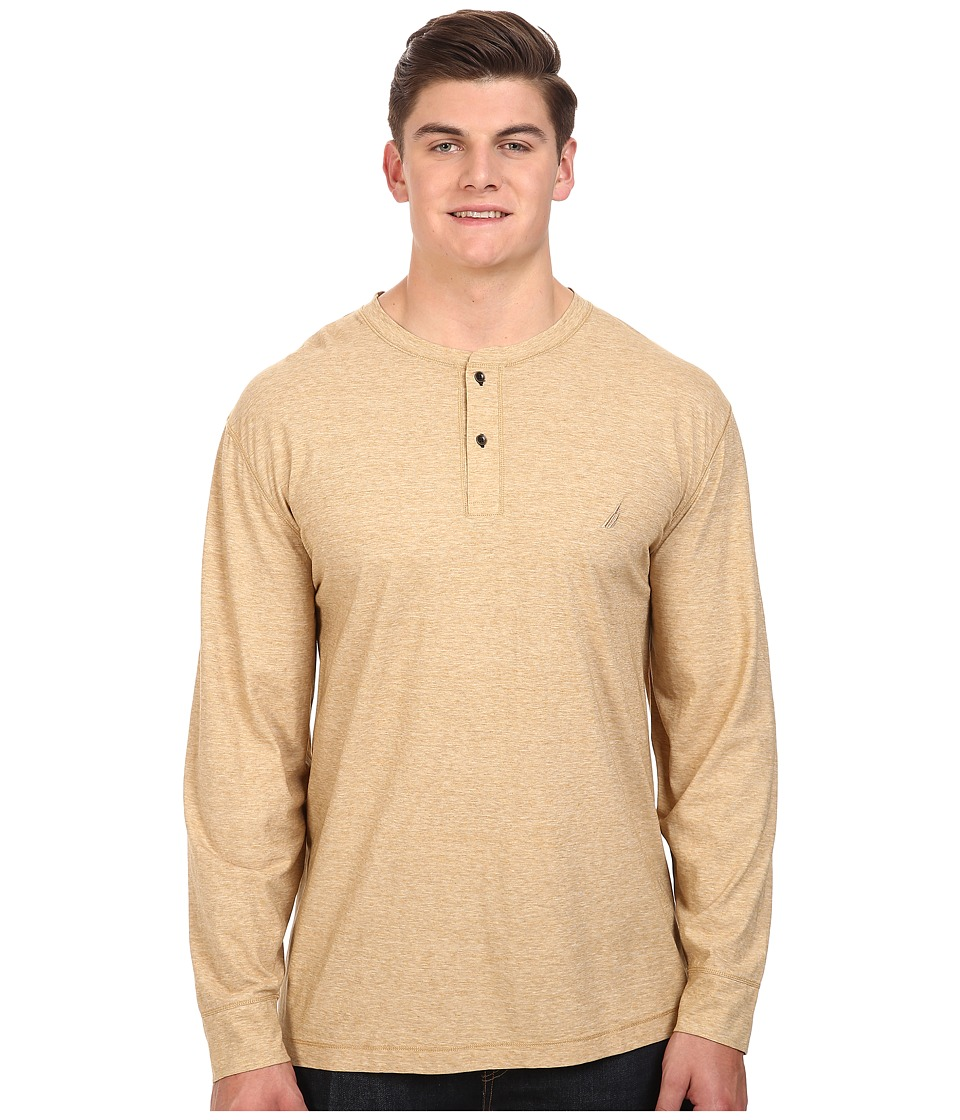 Nautica Big & Tall - Big Tall Long Sleeve Military Knit Shirt (Sandy Bar) Men's Clothing