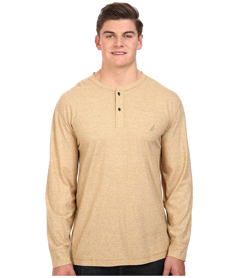 Nautica Big & Tall Big Tall Long Sleeve Military Knit Shirt (Sandy Bar) Men