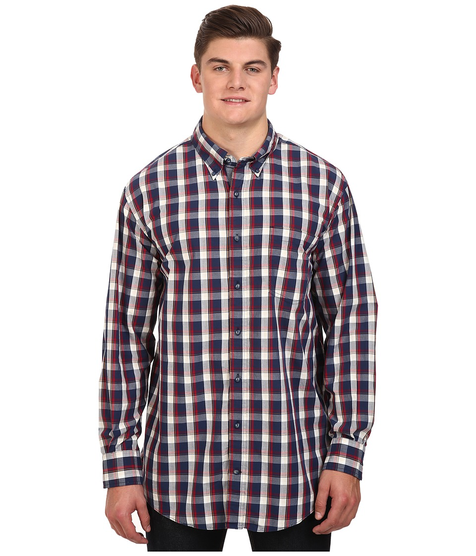 Nautica Big & Tall - Big Tall Plaid Shirt (Marine Blue) Men's Clothing