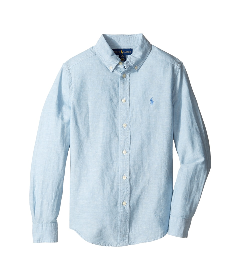 Polo Ralph Lauren Kids - Cotton Linen Long Sleeve Button Down Top (Big Kids) (Light Blue) Boy's Long Sleeve Button Up
