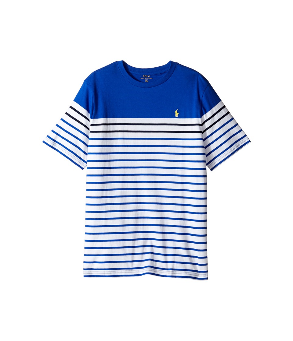 Polo Ralph Lauren Kids - Yarn-Dyed Short Sleeve Jersey Tee (Big Kids) (Cruise Royal Multi) Boy's Long Sleeve Pullover