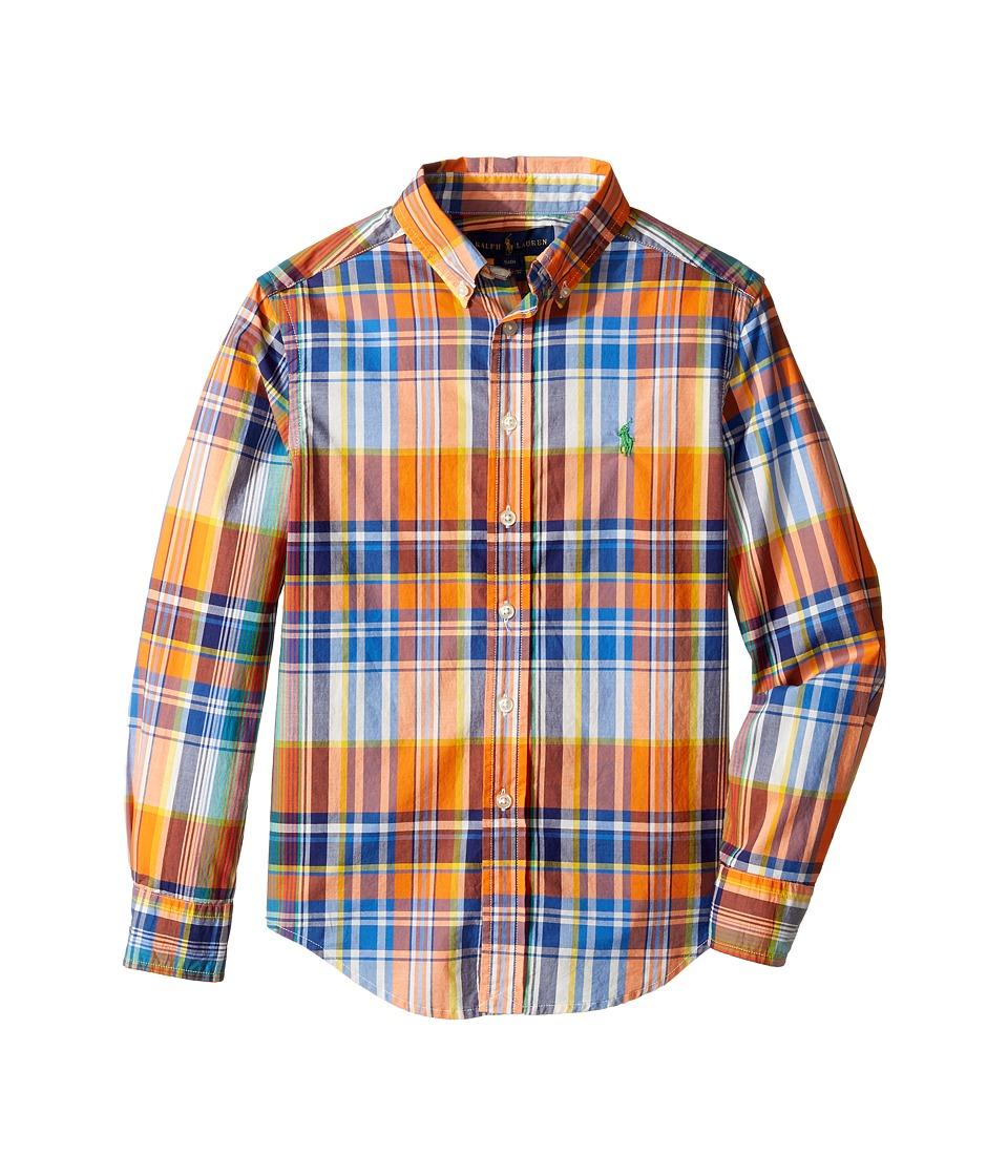 Polo Ralph Lauren Kids - Yarn-Dyed Poplin Long Sleeve Button Down Top (Big Kids) (Orange Multi) Boy's Long Sleeve Button Up