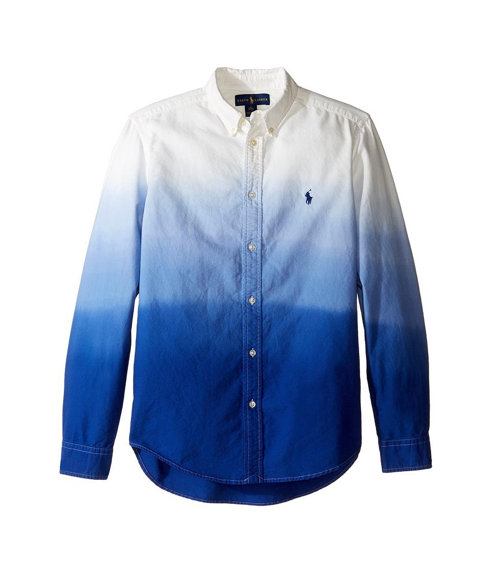Polo Ralph Lauren Kids - Long Sleeve Oxford Dip-Dye Top (Big Kids) (White/Cruise Royal) Boy's Long Sleeve Button Up