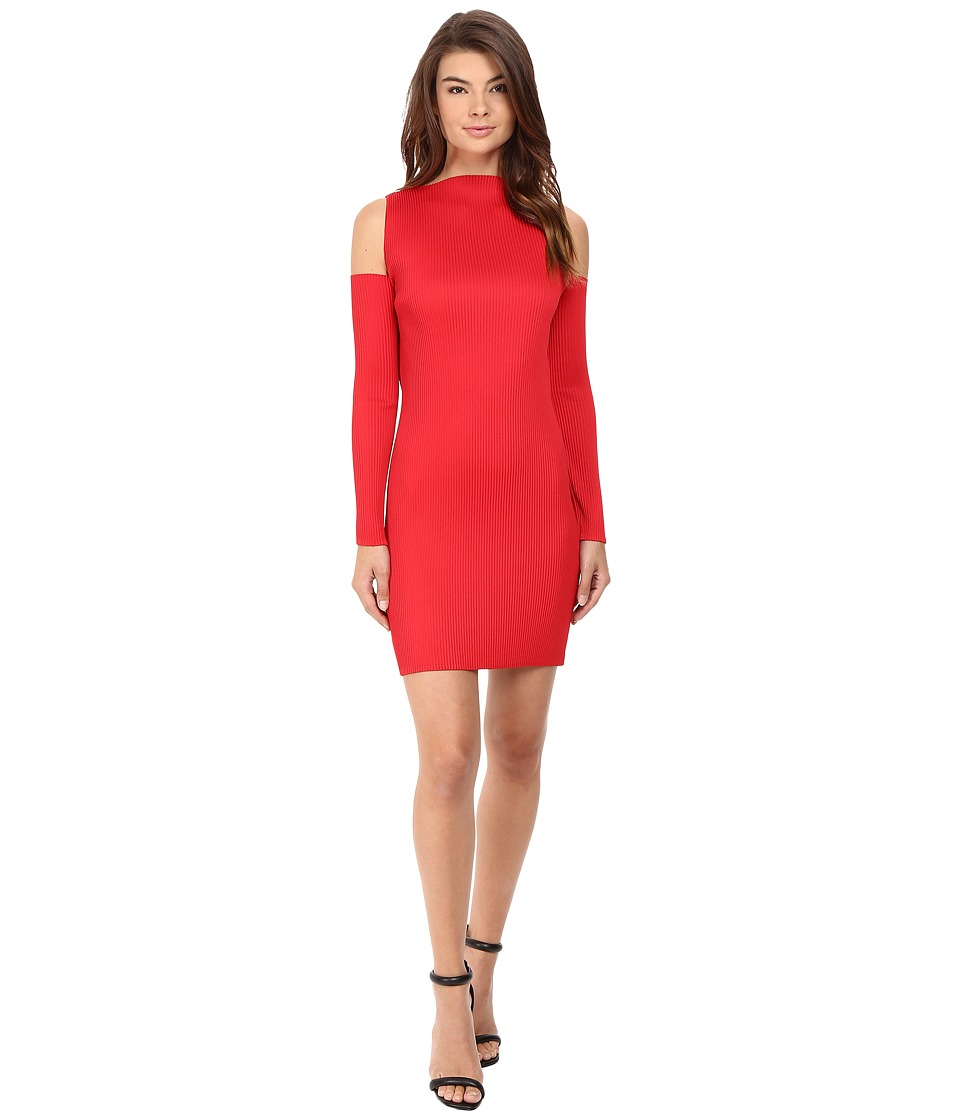 Kitty Joseph - Red Crepe Crystal Pleated Cold Shoulder Dress (Red) Women's Dress