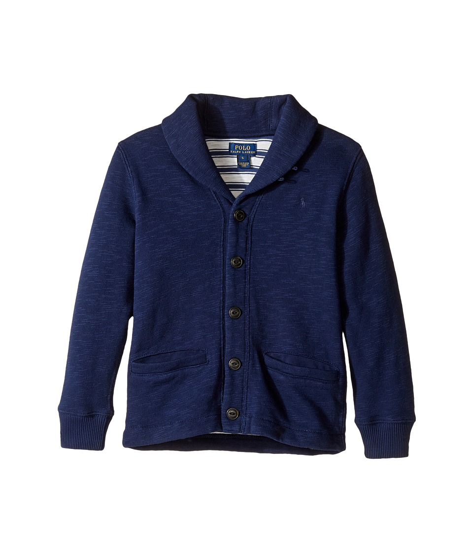 Polo Ralph Lauren Kids - Long Sleeve Slub Fleece Shawl Collar Top (Little Kids/Big Kids) (True Navy) Boy's Long Sleeve Pullover