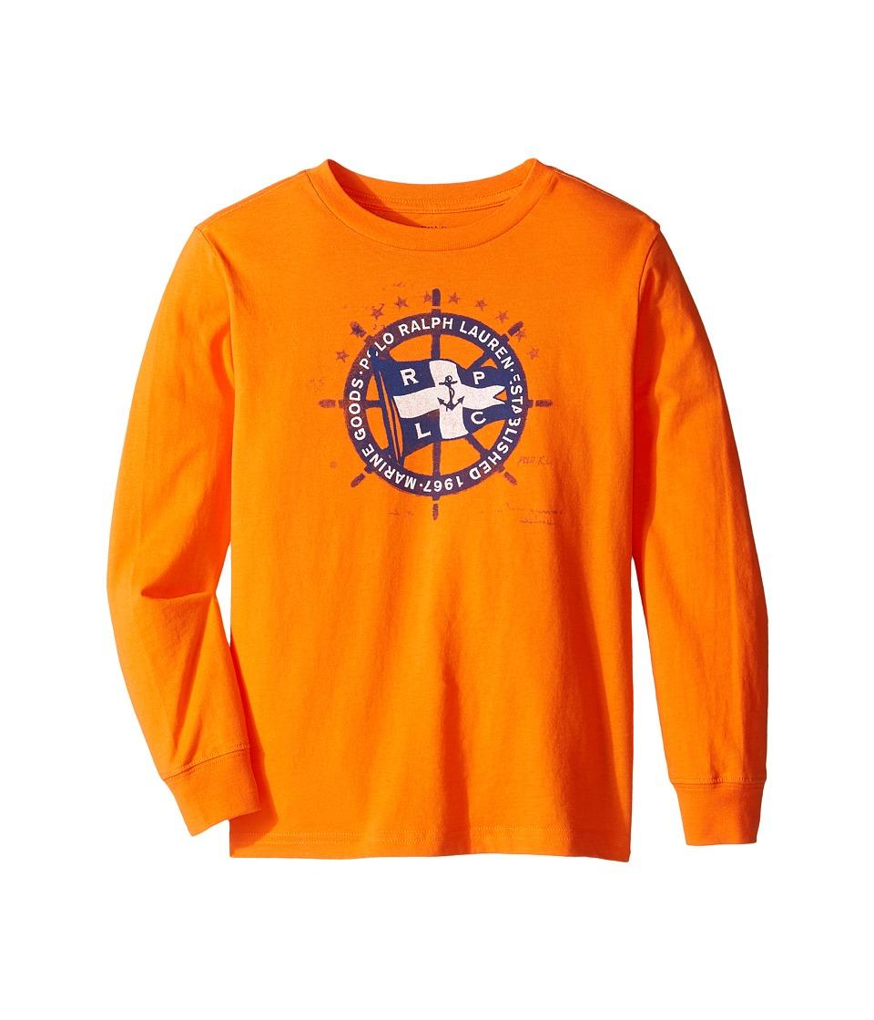 Polo Ralph Lauren Kids - Long Sleeve 30/1 Basic Jersey Tee (Little Kids/Big Kids) (Bright Signal Orange Multi) Boy's Long Sleeve Pullover