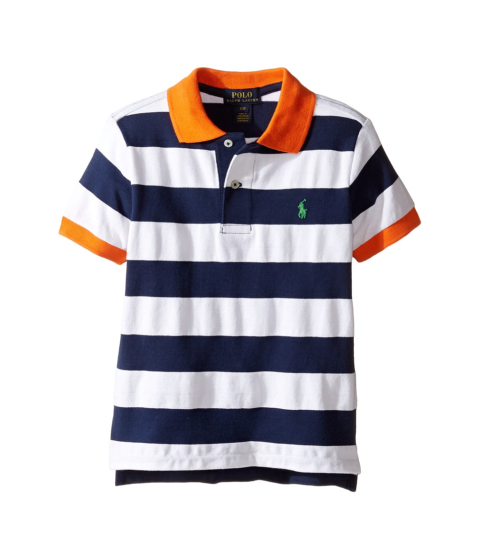 Polo Ralph Lauren Kids - Yarn-Dyed Mesh Striped Polo (Toddler) (White Multi) Boy's Short Sleeve Knit