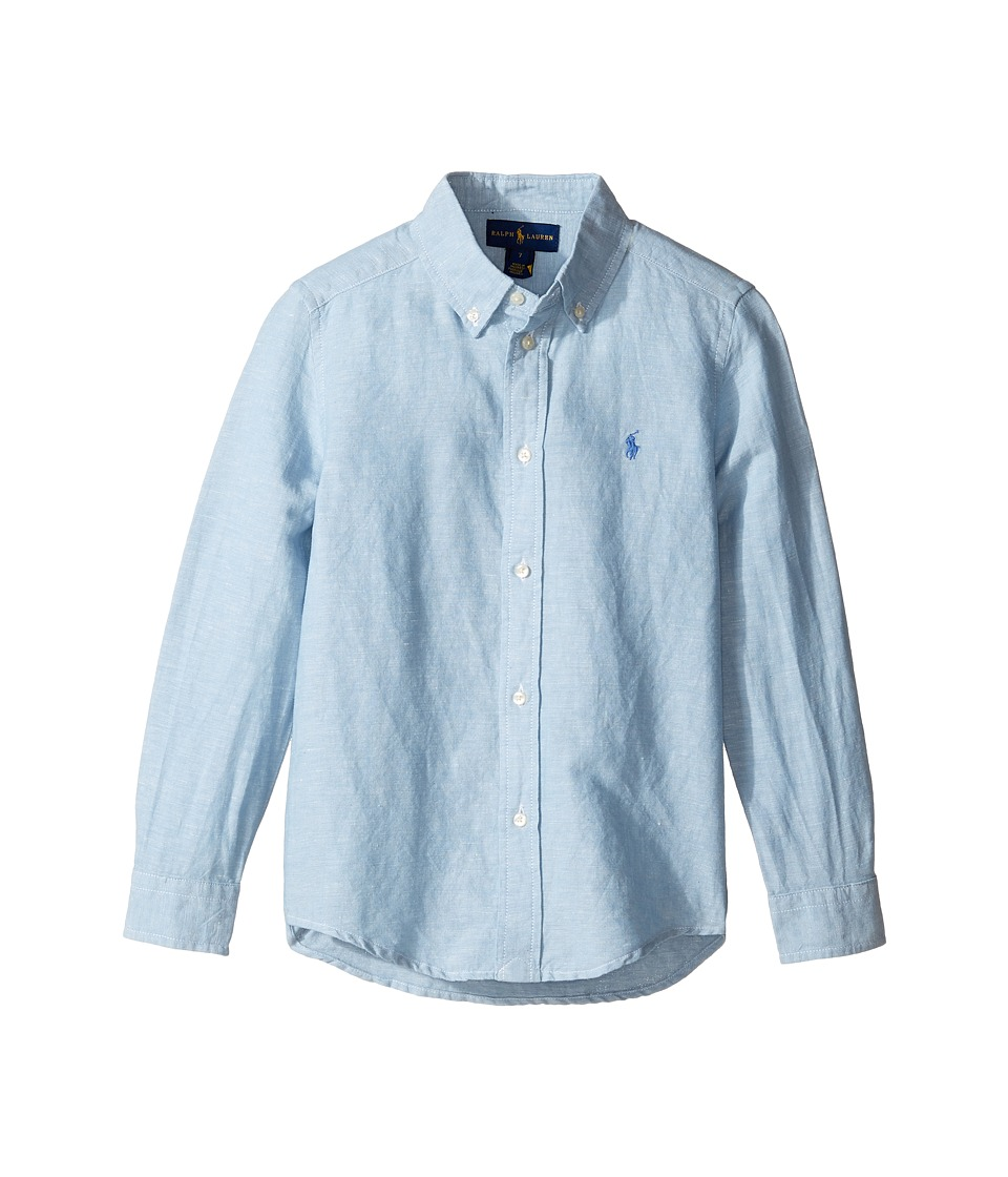 Polo Ralph Lauren Kids - Long Sleeve Cotton Linen Button Down Top (Little Kids/Big Kids) (Light Blue) Boy's Long Sleeve Button Up