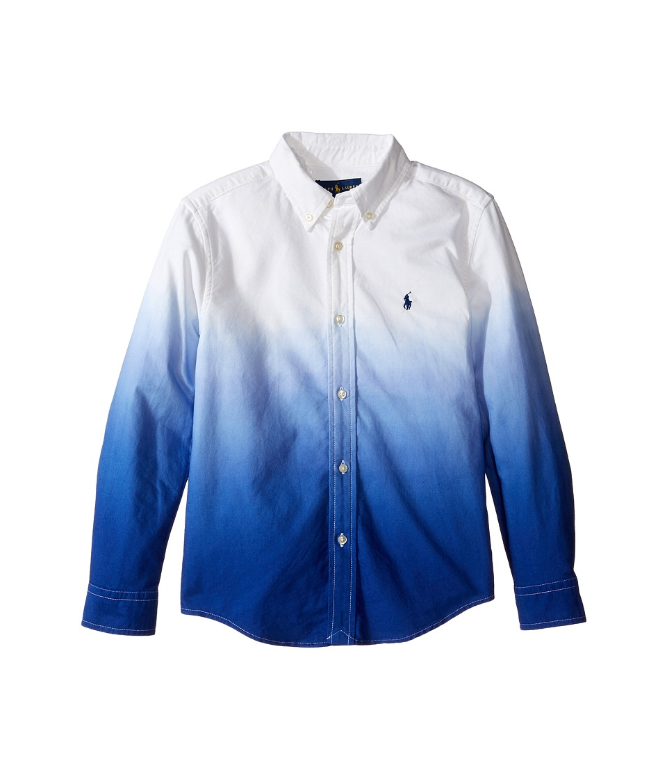 Polo Ralph Lauren Kids - Long Sleeve Oxford Dip-Dye Top (Little Kids/Big Kids) (White/Cruise Royal) Boy's Long Sleeve Button Up