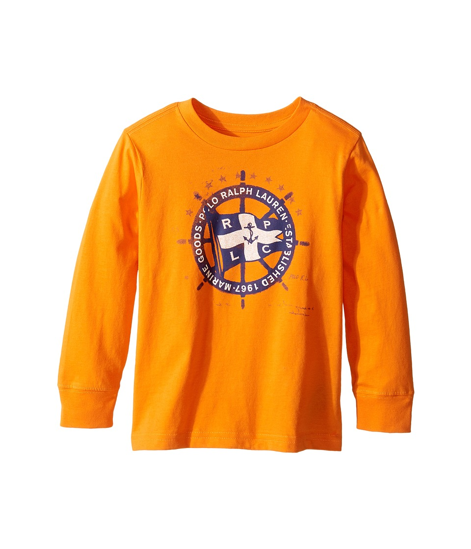Polo Ralph Lauren Kids - 30/1 Basic Jersey Long Sleeve Graphic Tee (Toddler) (Bright Signal Orange Multi) Boy's T Shirt