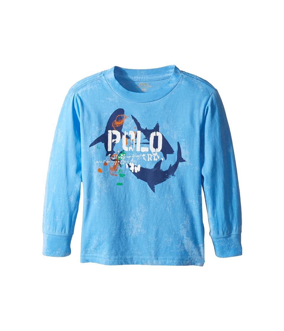 Polo Ralph Lauren Kids - Basic Jersey Long Sleeve Graphic Tee (Toddler) (Riviera Blue) Boy's T Shirt