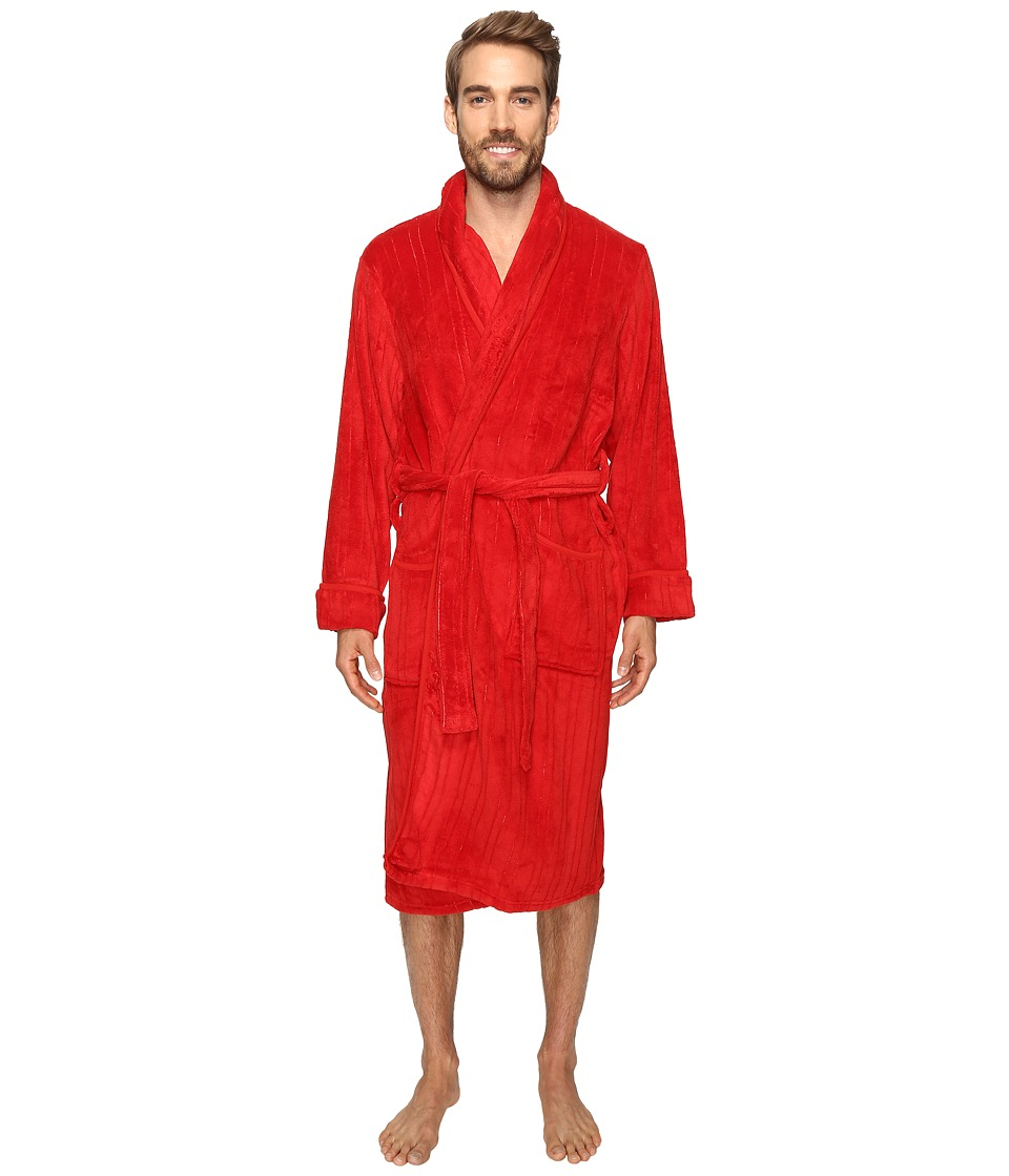 Jockey - Sculptured Striped Fleece Robe (Red) Men's Robe