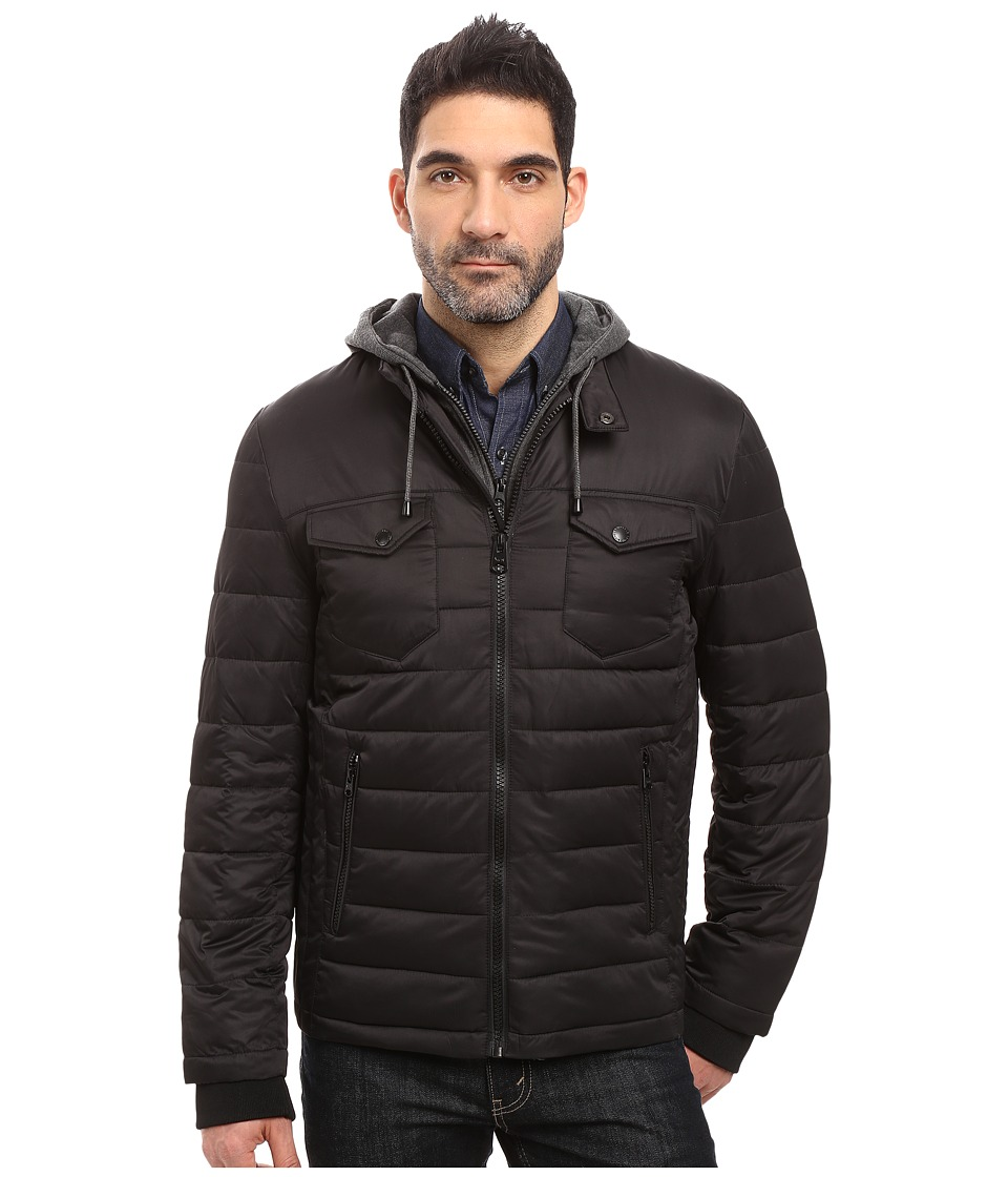 Buffalo David Bitton - Zip Front Twill Jacket with Hood (Black) Men's Coat