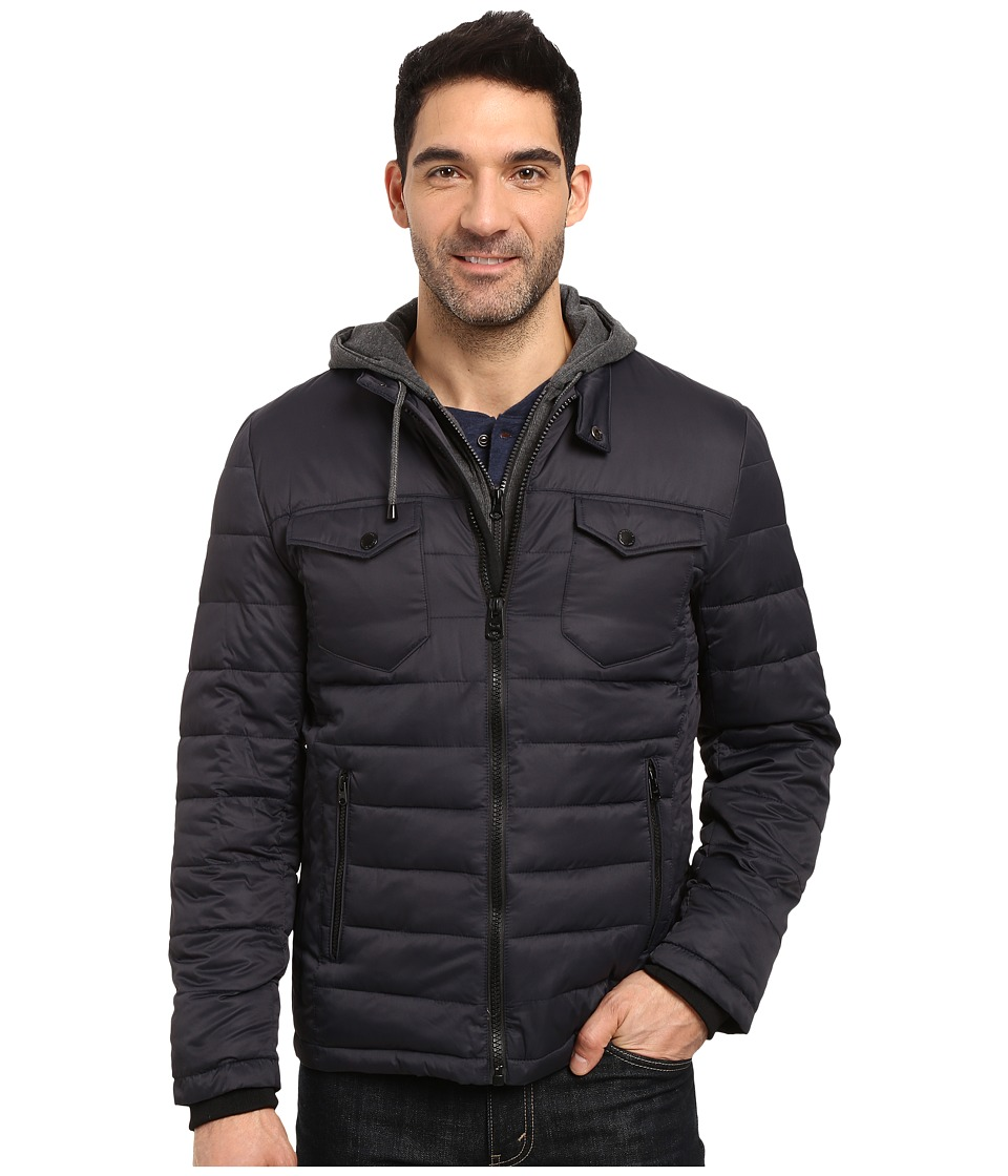 Buffalo David Bitton - Zip Front Twill Jacket with Hood (Dark Navy) Men's Coat