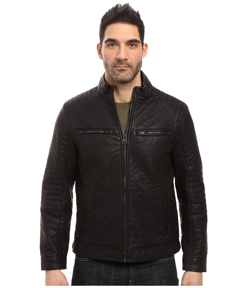 Buffalo David Bitton - PU Zip Jacket (Black) Men's Coat