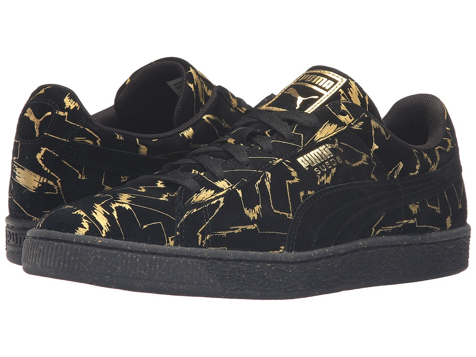 PUMA - Suede Brush Emboss Metallic (Black/Team Gold) Men's Shoes