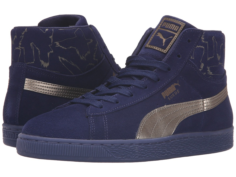 PUMA - Suede Mid Metallic (Blue Suede) Men's Shoes