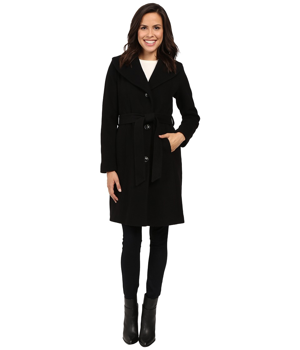 Anne Klein - Belted Wool Coat with Shawl Collar (Black) Women's Coat