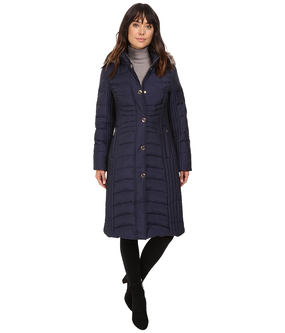 Anne Klein - Quilted Jacket with Fur Collar (Navy) Women's Coat