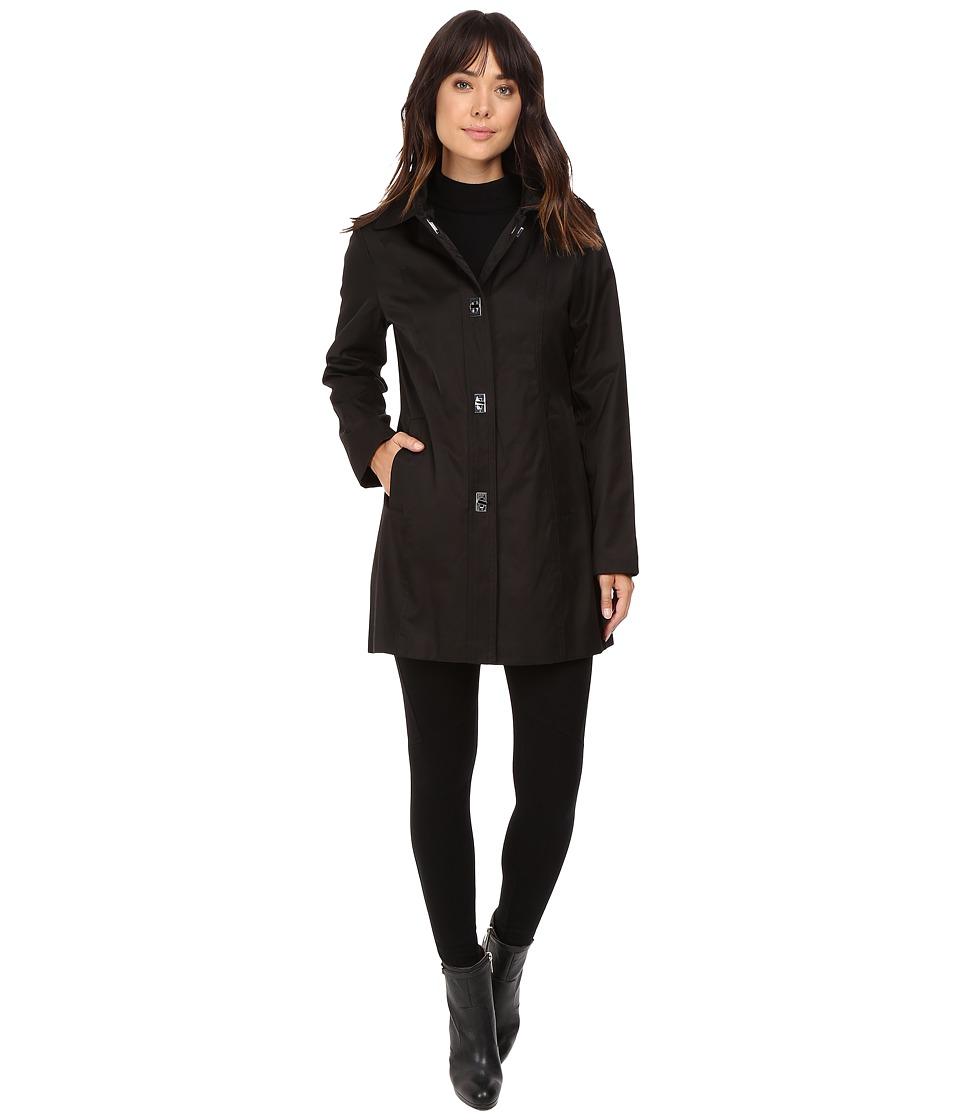 Anne Klein - Button Down Raincoat (Black) Women's Coat