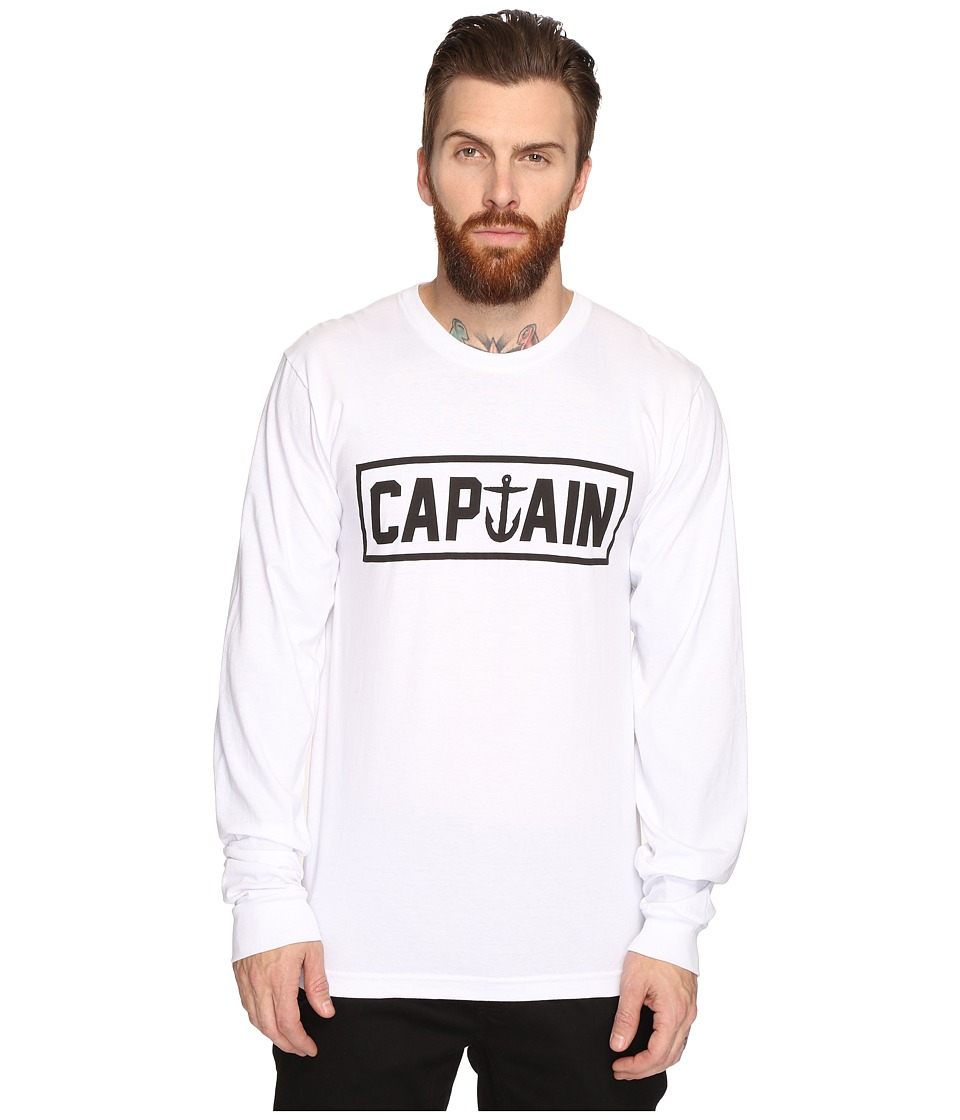 Captain Fin - Naval Captain Long Sleeve Tee (White) Men's T Shirt
