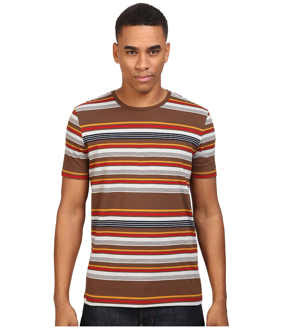 Captain Fin - Shredding Short Sleeve Knit (Brown) Men's Clothing