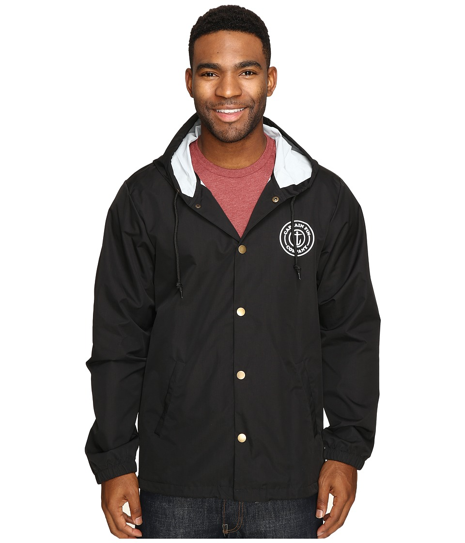Captain Fin - Fresh Catch Hooded Coaches Jacket (Black) Men's Coat