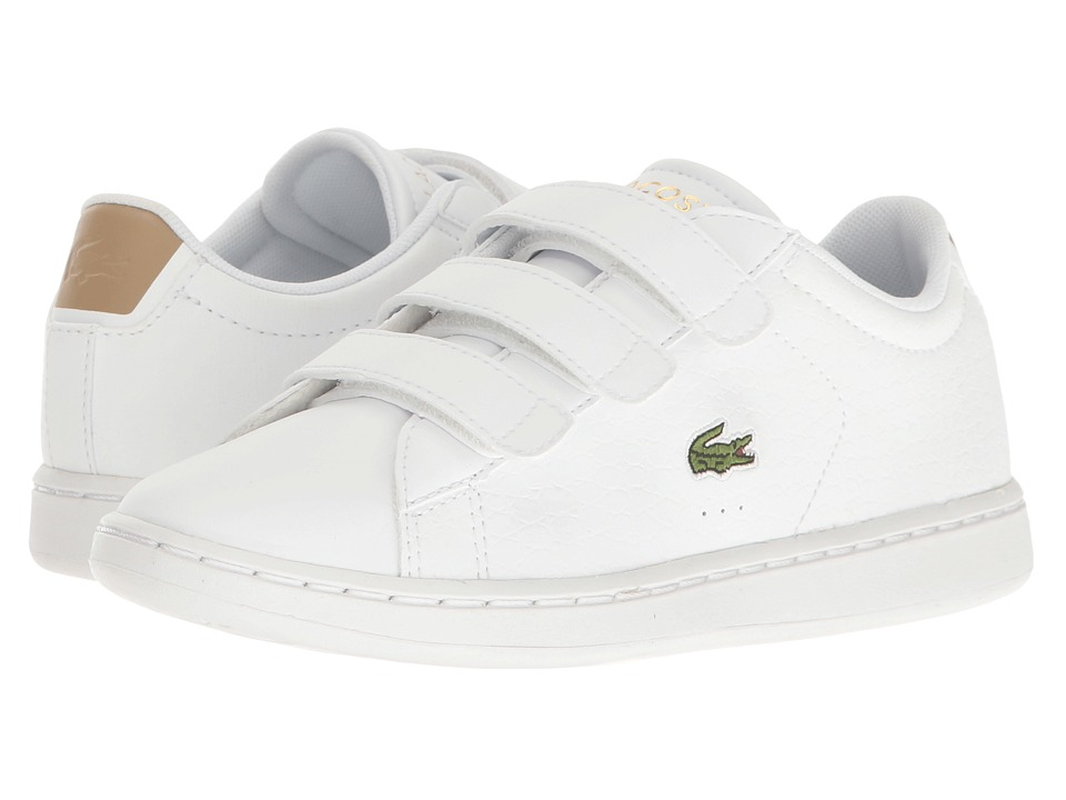 Lacoste Kids - Carnaby Evo G117 3 SPC (Little Kid) (White/Tan) Kids Shoes