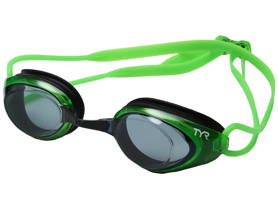 TYR - Black Hawk Racing (Smoke Florecent Green/Black) Goggles