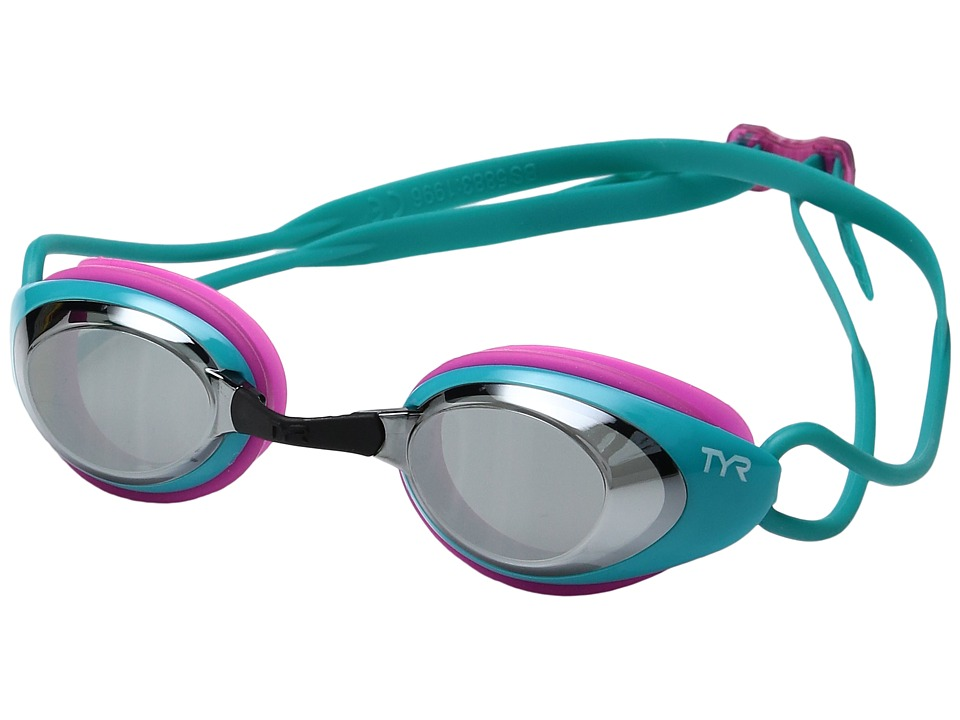 TYR - Black Hawk Racing Femme Mirrored (Silver/Turquoise/Pink) Goggles