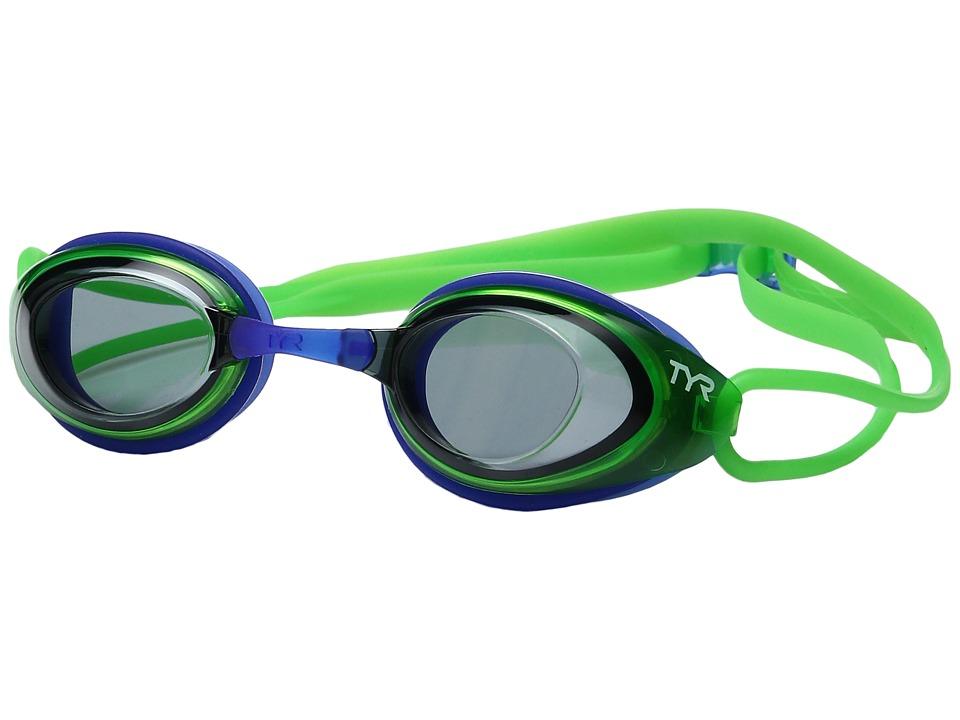 TYR - Black Hawk Racing Junior (Smoke Flourescent Green/Blue) Goggles