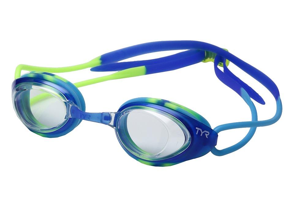 TYR - Black Hawk Racing Junior (Clear Blue/Green) Goggles