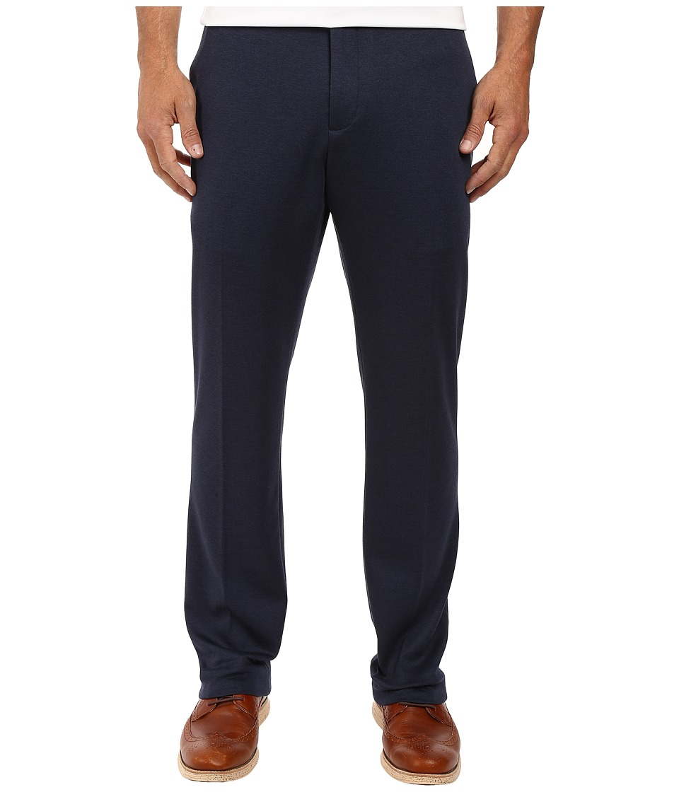 Perry Ellis Portfolio - Slim Fit Heathered Soft Pants (Navy) Men's Dress Pants