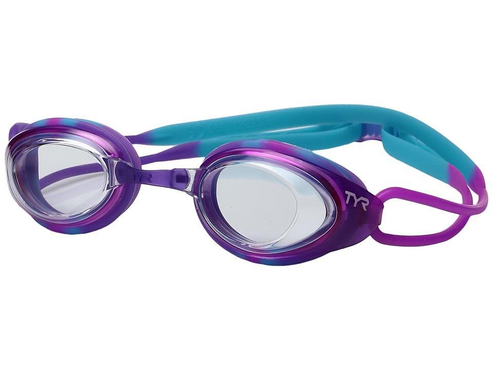 TYR - Black Hawk Racing Junior (Clear Purple/Blue) Goggles