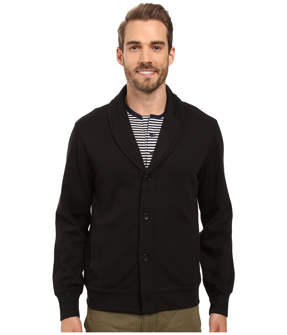 Perry Ellis - Shawl Button Front Mix Media Cardigan (Black) Men's Sweater
