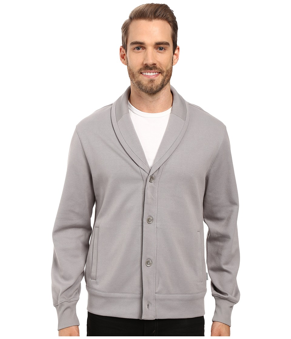 Perry Ellis - Shawl Button Front Mix Media Cardigan (Frost Gray) Men's Sweater