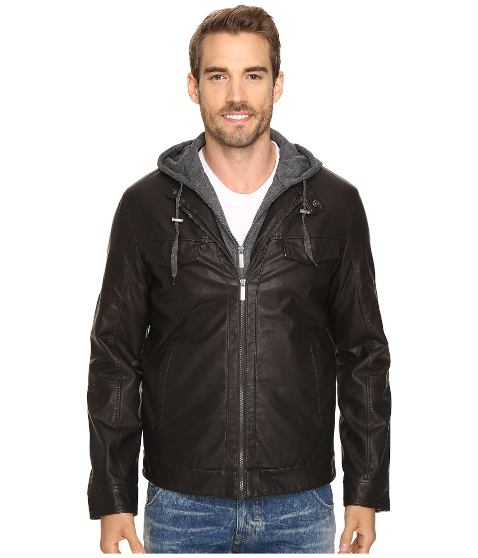 Perry Ellis - Faux Leather Bomber (Dark Chocolate) Men's Coat